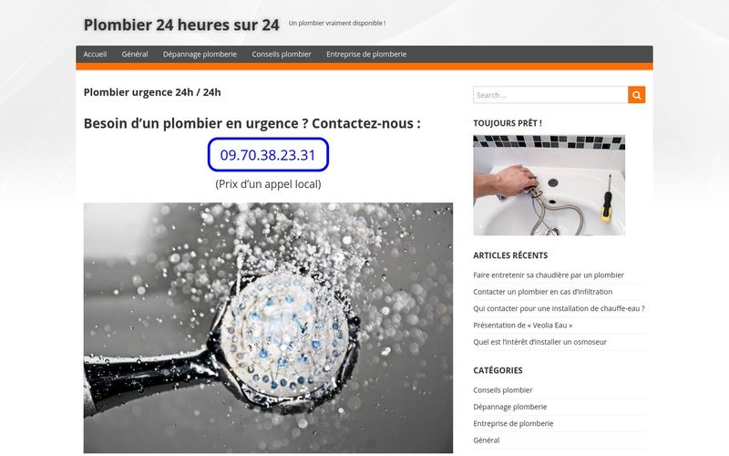 Plombier 24 heures sur 24 - Un plombier vraiment disponible !